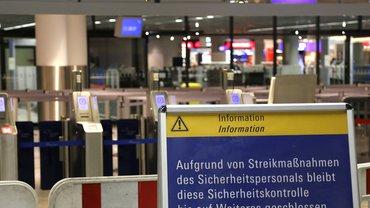 Streik der Sicherheitsfachkräfte am Flughafen Frankfurt am Main am 21.02.2014