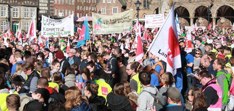 Tarifrunde ÖD der Länder 2019: Warnstreik am 27.02.2019 in Bremen