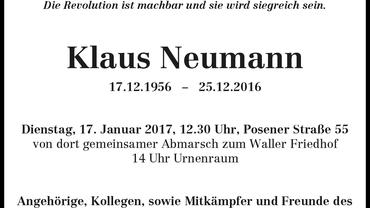 Traueranzeige Klaus Neumann